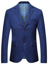 Lapel Collar Grid Blazer with Chest Pocket