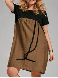 Color Block Knee Length Plus Size Smock Dress