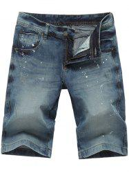 Zip Fly Splatter Paint Jean Shorts
