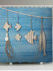Fishing Net Wood Grain Fish Printed Shower Curtain
