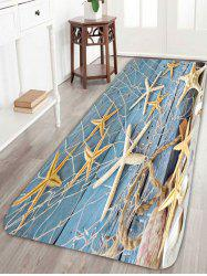 Starfish Fishing Net Wood Grain Print Area Rug - LIGHT BLUE