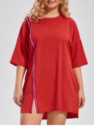 Zip Front Plus Size Long T-shirt