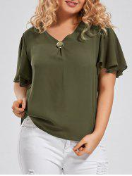 Plus Size V Neck Ruffle Sleeve Chiffon Top