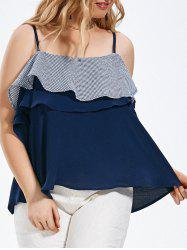 Plus Size Stripe Ruffle Tired Cami Top