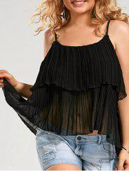 Pleated Chiffon Ruffle Plus Size Cami Top