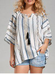 Plus Size Tribal Printed Bohemian Top with Tassel