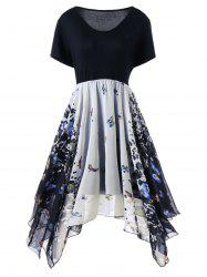 Plus Size Butterfly Pattern Handkerchief Dress - COLORMIX
