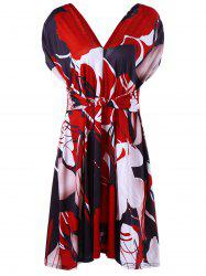 Cinthed Waist Plus Size Floral Print Dress