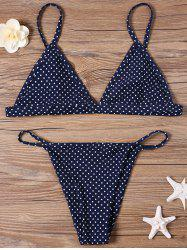 Dotted Plunge String Thong Bikini Set