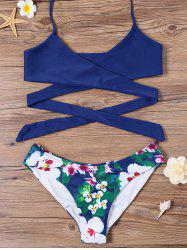 Wrap Tie Bikini Top and Floral Bottoms