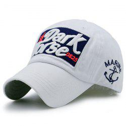 Boat Anchor Letters Patterned Baseball Cap - WHITE