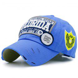 Badges Letters Patterned Baseball Cap - AZURE