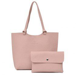 Faux Leather Shoulder Bag and Crossbody Bag - PINK