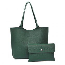 Faux Leather Shoulder Bag and Crossbody Bag - GREEN