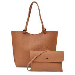 Faux Leather Shoulder Bag and Crossbody Bag - BROWN