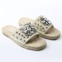 Espadrille Flat Slide Sandals with Rhinestone - APRICOT