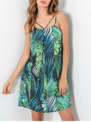 Strappy Tropical Leaf Print Summer Slip Dress