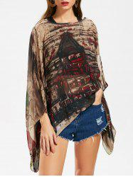Butterfly Sleeve Printed Chiffon Top -