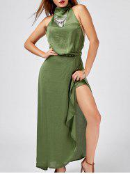 Halter Asymmetrical Backless Maxi Dress