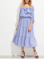 Off The Shoulder Striped Night Out Dress
