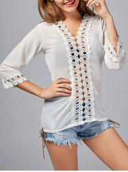 See Tru Lace Panel Mini Chiffon Blouse