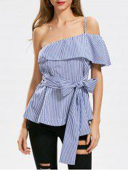 Stripe Ruffle One Shoulder Blouse -