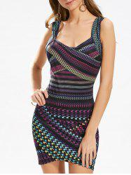 Sleeveless Houndstooth Print Bodycon Mini Dress - COLORFUL