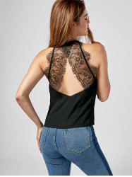 Cut Out Chiffon Lace Trim Tank Top
