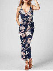 High Waisted Backless Floral Jumpsuit
