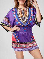 Shirred Waist Batwing Sleeve Tribal Print Dress