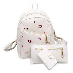 PU Leather Heart Embroidered Backpack Set
