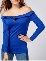 Long Sleeve Ruffle Off The Shoulder Shirt