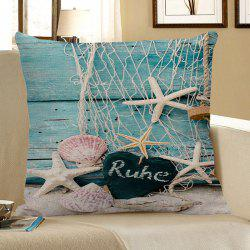 Fishing Net Wood Grain Starfish Heart Print Pillow Case - LIGHT BLUE