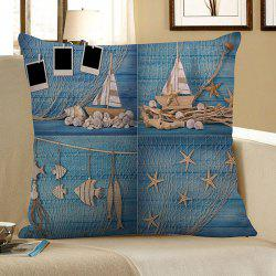 Wood Grain Fishing Net Starfish Print Pillow Case - LIGHT BLUE