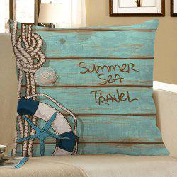 Wood Grain Starfish Printed Pillow Case - LIGHT BLUE
