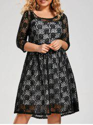 Semi Sheer Plus Size A Line Lace Dress with Sleeves