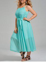 Plus Size Chiffon Long Slip Dress with Belt