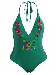 Halter Embroidered Backless Swimsuit