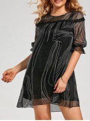 Plus Size Chiffon Ink Painting Asymmetric Swing Dress