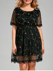 Semi Sheer Plus Size Embroidered Dress with Lace Trim