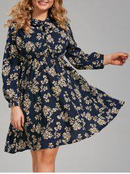Floral Print Plus Size Long Sleeve Pussy Bow Dress