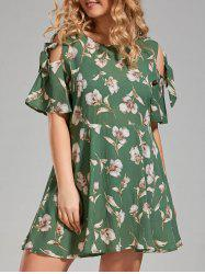 Plus Size Floral Cold Shoulder Mini Skater Dress