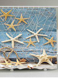 Wood Grain Starfish Fishing Net Nautical Shower Curtain - LIGHT BLUE