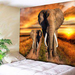 Elephant Print Wall Hanging Home Decor Tapestry - Jaune