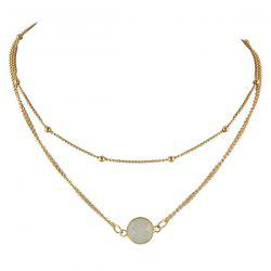 Faux Gemstone Layered Round Necklace - WHITE