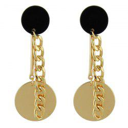Circle Disc Chain Drop Earrings