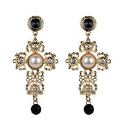 Faux Pearl Cross Filigree Drop Earrings - GOLDEN