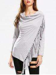 Tassel Asymmetric Long Sleeve Top - GRAY