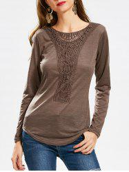 Casual Scoop Neck Hollow Out Crochet Spliced Solid Color T-Shirt For Women - COFFEE