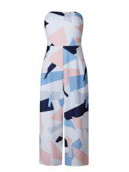 Shirred Geometric Print Wide Leg Bandeau Jumpsuit